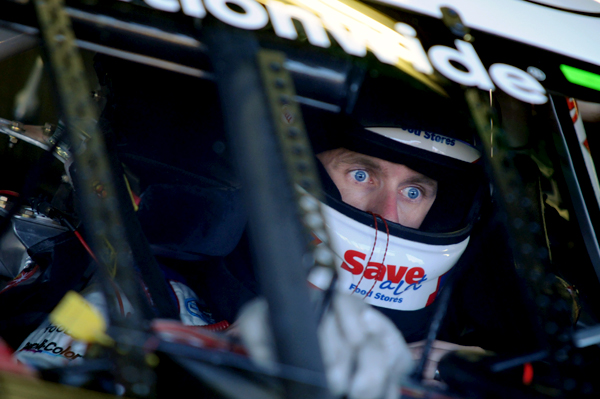 NASCAR driver Carl Edwards prepares for practice. This picture was taken through the windshield.