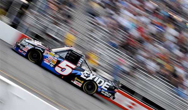 NASCAR action at a slow shutter speed.
