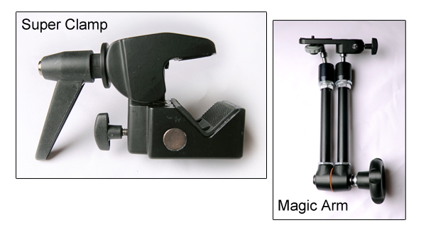 A Magic Arm and Super Clamp.